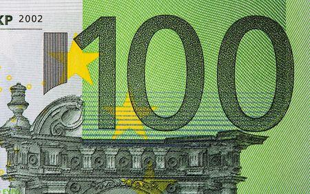 upclose: Extreme macro shot of a hundred Euro bill.