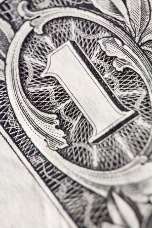 Extreme macro shot of a one dollar bill. Stock Photo - 2150268