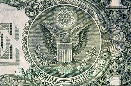 pluribus: Extreme macro shot of a one dollar bill. Stock Photo