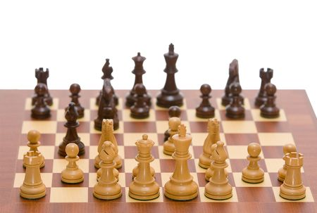 Chess board with a full set of chess pieces Stock Photo - 2662543