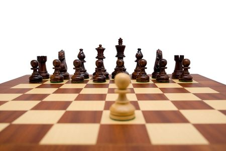 Single pawn looking down the chess board at the opposing pieces. A clipping path is included for easy extraction.