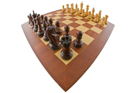 Fisheye view of a chessboard. The chessboard is isolated on white and a clipping path is provided for easy extraction. photo