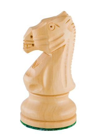 Photo of a single chess piece - a white knight.  photo