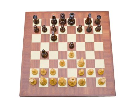 Photo of a chessboard from above. The chessboard is isolated on white and a clipping path is provided easy for extraction. Stock Photo - 3763811