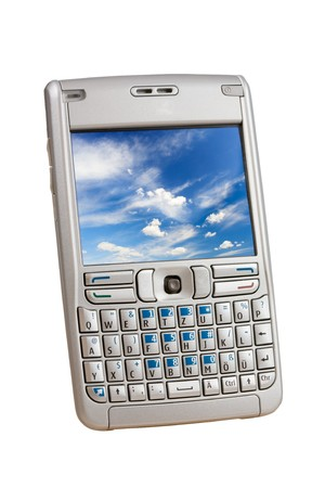 Silver mobile phone with a colorful picture on the display  isolated on white.  Stock Photo