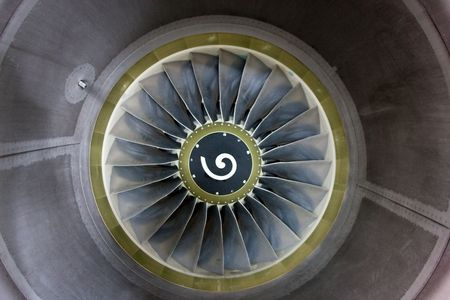 View into a the jet engine of a commercial airliner. Stock Photo