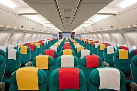 Photo of the passenger cabin of a commercial airliner. Stock Photo - 5279466