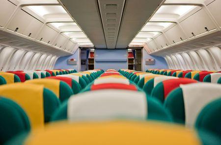 Foto de la cabina de pasajeros de un avi�n comercial. Foto de archivo - 5289903