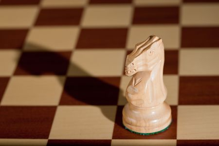 Chess piece - a white knight on a chessboard. photo