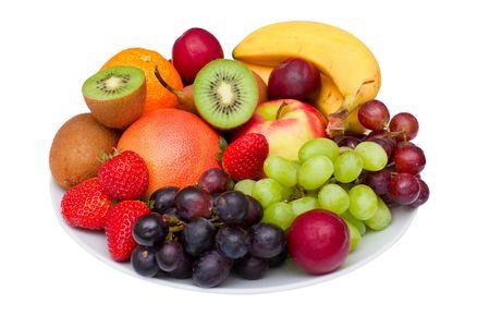 fruit platter: Photo of a fruit platter isolated on white.
