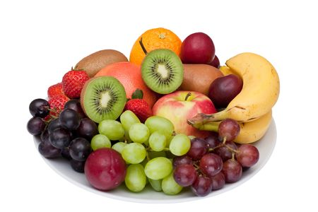 Photo of a fruit platter isolated on white.