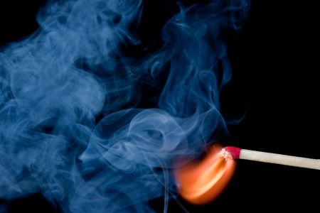 Burning match that has just been ignited.