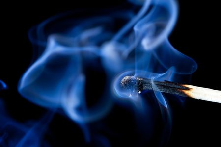 smolder: Smoldering match that has just been extinguished.