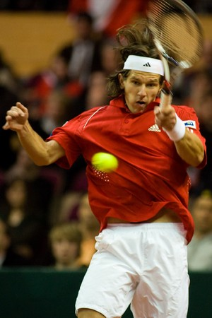 Juergen Melzer of Austria during his match against Andy Roddick  - Davis Cup Austria 2008 Stock Photo - 8150226