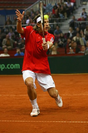 Juergen Melzer of Austria during his match against Andy Roddick  - Davis Cup Austria 2008 Stock Photo - 8150235