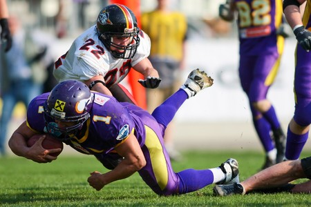 afl: Austrian Football League - Vienna Vikings playing against the Carinthian Black Lions in Vienna - April 2008