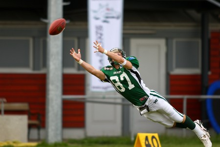 Austrian Football League semi-finals - Danube Dragons playing against the Graz Giants - June 2008 Stock Photo - 8185272