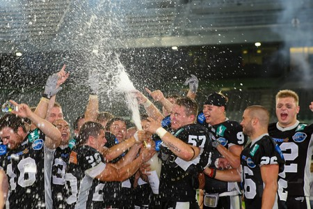 Innsbruck, Austria - July 5: The Tirol Raiders win the European Football League against the Vienna Vikings.