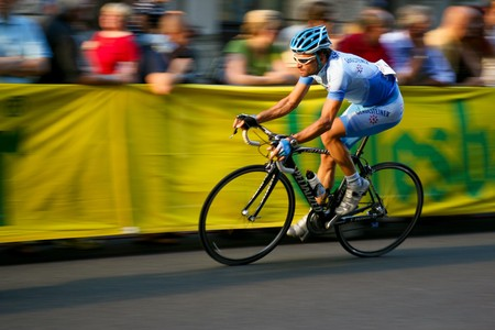 Vienna, Austria - August 1: The Rathauskriterium 2008 ends with a victory of Filippo Pozzato from Team Liquigas. Shown is Austrian rider Peter Wrolich.