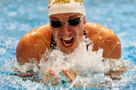 Vienna, Austria - November 29 2008; 400 swimmers from 12 nations take part in the 35th Stroeck Austrian Qualifying. Shown is Austrian swimmer Maxim Podoprigora during the 200m breaststroke event. Stock Photo - 8194649