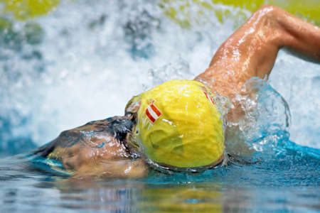 Vienna, Austria - November 30 2008; 400 swimmers from 12 nations take part in the 35th Stroeck Austrian Qualifying. Shown is Austrian swimmer Markus Rogan. Stock Photo - 8194545