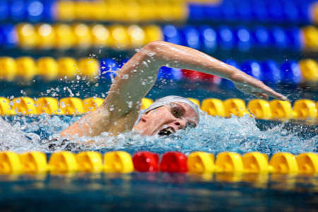 Vienna, Austria - November 30 2008; 400 swimmers from 12 nations take part in the 35th Stroeck Austrian Qualifying. Shown is Austrian swimmer Joerdis Steinegger. Stock Photo - 8194529