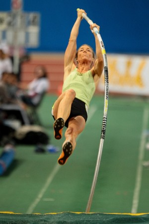 VIENNA, AUSTRIA - FEBRUARY 3: International indoor track and field meeting in Vienna: Doris Auer, Austria, places third in the womens pole vault event. Editorial