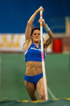 VIENNA, AUSTRIA - FEBRUARY 3: International indoor track and field meeting in Vienna: Elena Scarpellini, Italy, wins the women's pole vault competition. Stock Photo - 8194572