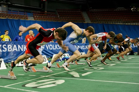 VIENNA, AUSTRIA - FEBRUARY 3: International indoor track and field meeting in Vienna: Start of the mens 60m sprint event.