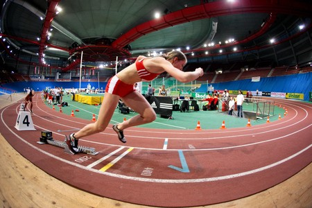 linda: VIENNA, AUSTRIA - FEBRUARY 21: Indoor track and field championship: Linda Thoms places sixth in the womens 200m competition February 21, 2009 in Vienna, Austria.