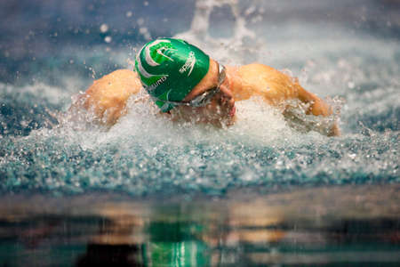 medley: VIENNA, AUSTRIA - March 1: Indoor swimming championship: Dinko Jukic wins the mens 200m medley event March 1, 2009 in Vienna, Austria.