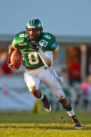 KORNEUBURG, AUSTRIA - April 4: Austrian Football League:  RB Marques Binns (#8, Dragons) and his team lose 35:52 to Tirol Raiders on April 4, 2009 in Korneuburg, Austria.