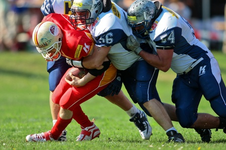 St. Poelten,  AUSTRIA - April 25: Austrian Football League - Division I:  The St. Poelten Invaders win 35:6 against the Traun Steelsharks on April 25, 2009 in St. Poelten, Austria.