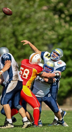 invaders: St. Poelten,  AUSTRIA - April 25: Austrian Football League - Division I:  QB Martin Ringeisen (#9, Steelsharks) and his teams lose 35:6 to the St. Poelten Invaders on April 25, 2009 in St. Poelten, Austria. Editorial