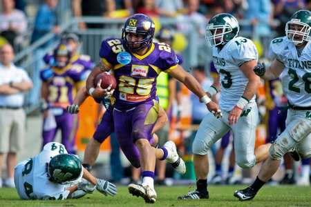 titans: Vienna,  AUSTRIA - June 1: Charity Bowl XI: RB Josiah Cravalho and his team lose 14:64 to the Wesleyan Titans on June 1, 2009 in Vienna, Austria. Editorial