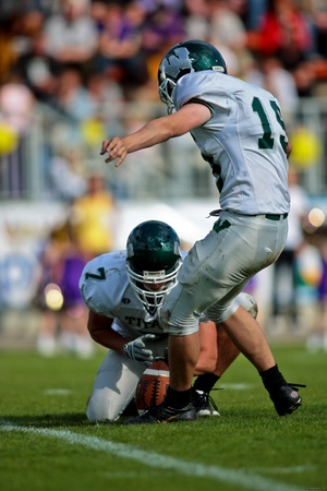 titans: Vienna,  AUSTRIA - June 1: Charity Bowl XI: Kicker Michael Fenger (#19, Titans) and his team win 14:64 against the Vienna Vikings on June 1, 2009 in Vienna, Austria.
