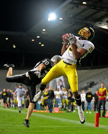 INNSBRUCK,  AUSTRIA - JULY 11 European Football League - Euro Bowl XXIII:  WR Artchill Monney (#19, Flash) and his team lose 30:19 against the Tirol Raiders on July 11, 2009 in Innsbruck, Austria.