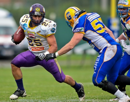 GRAZ,  AUSTRIA - JULY 18 Austrian Football League - Austrian Bowl XXV:  RB Josiah Cravalho (#25, Vikings) and his team win 22:19 against the   Graz Giants on July 18, 2009 in Graz, Austria.