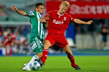 VIENNA,  AUSTRIA - JULY 19 Friendship game between SK Rapid and Liverpool FC: Striker Dirk Kuyt (#18, Liverpool) and his team lose 1:0 on July 19, 2009 in Vienna, Austria.