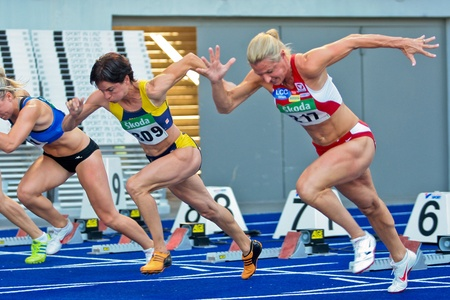 LINZ, AUSTRIA - AUGUST 1 Austrian track and field championship: Bianca DŸrr (#309) places first in the womens 100m semifinals on August 1, 2009 in Linz, Austria.