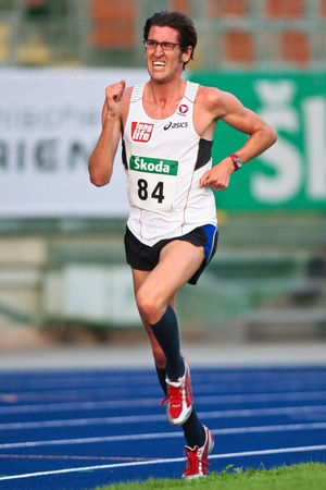 LINZ, AUSTRIA - AUGUST 1 Austrian track and field championship: Martin Steinbauer (#84) wins the mens 5000m race on August 1, 2009 in Linz, Austria.