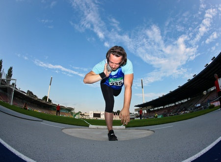 LINZ, AUSTRIA - AUGUST 1 Austrian track and field championship: Roland Horstmann (#235) places seventh in the mens shot put event on August 1, 2009 in Linz, Austria.