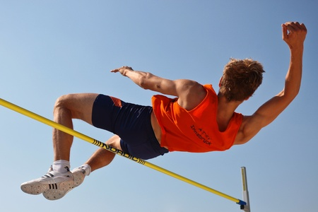 LINZ, AUSTRIA - AUGUST 2 Austrian track and field championship: Oliver Baumgartner places third in the men's high jump event on August 2, 2009 in Linz, Austria. Stock Photo - 8448760