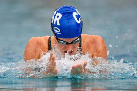 ST. POELTEN, AUSTRIA - AUGUST 9 Austrian outdoor swimming championship: Johanna Gerstbauer places fourth in the womens 50m breaststroke event on August 9, 2009 in St. Poelten, Austria.