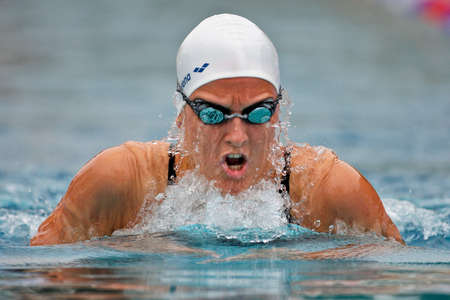 ST. POELTEN, AUSTRIA - AUGUST 9 Austrian outdoor swimming championship: Nina Dittrich qualifies for the 200m women's medley finals on August 9, 2009 in St. Poelten, Austria. Stock Photo - 8448806