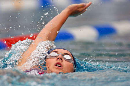 medley: ST. POELTEN, AUSTRIA - AUGUST 9 Austrian outdoor swimming championship: Lisa Picha places nineteenth in the 200m womens medley event on August 9, 2009 in St. Poelten, Austria.
