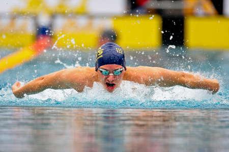 ST. POELTEN, AUSTRIA - AUGUST 9 Austrian outdoor swimming championship: Felix Neidhart places eleventh in the 200m mens medley event on August 9, 2009 in St. Poelten, Austria.
