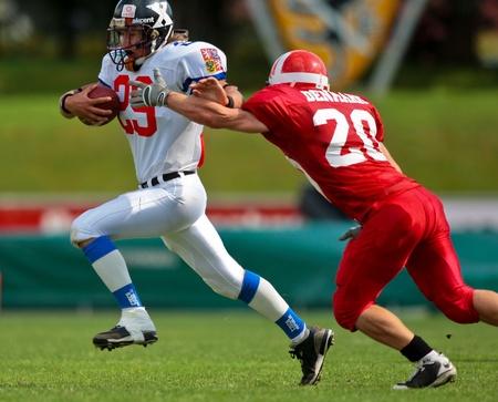 WOLFSBERG, AUSTRIA - AUGUST 18 American Football B-EC: RB Ondrej Visek (#29, Czech) and his team beat Denmark 30:15 on August 18, 2009 in Wolfsberg, Austria.