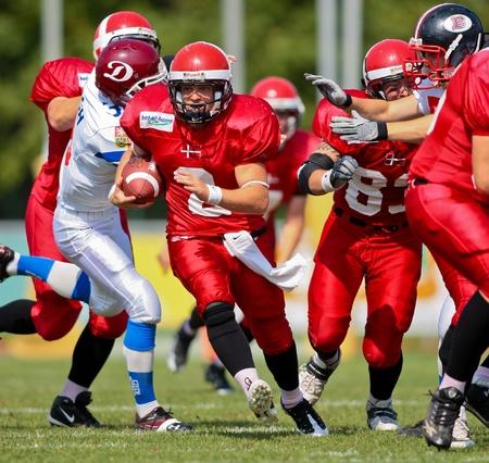 WOLFSBERG, AUSTRIA - AUGUST 20 American Football B-EC: RB Dan Kaltoft Boehm (#2, Denmark) and his team beat the Czech Republic 34:0 on August 20, 2009 in Wolfsberg, Austria. Stock Photo - 8461523
