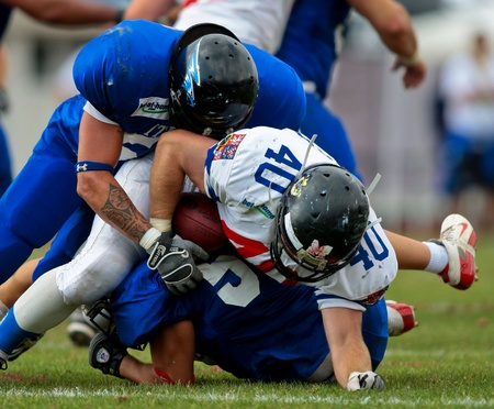 WOLFSBERG, AUSTRIA - AUGUST 22 American Football B-EC: RB Martin Dlouhy (#40, Czech) and his team beat Italy 27:17 on August 22, 2009 in Wolfsberg, Austria. Stock Photo - 8461507
